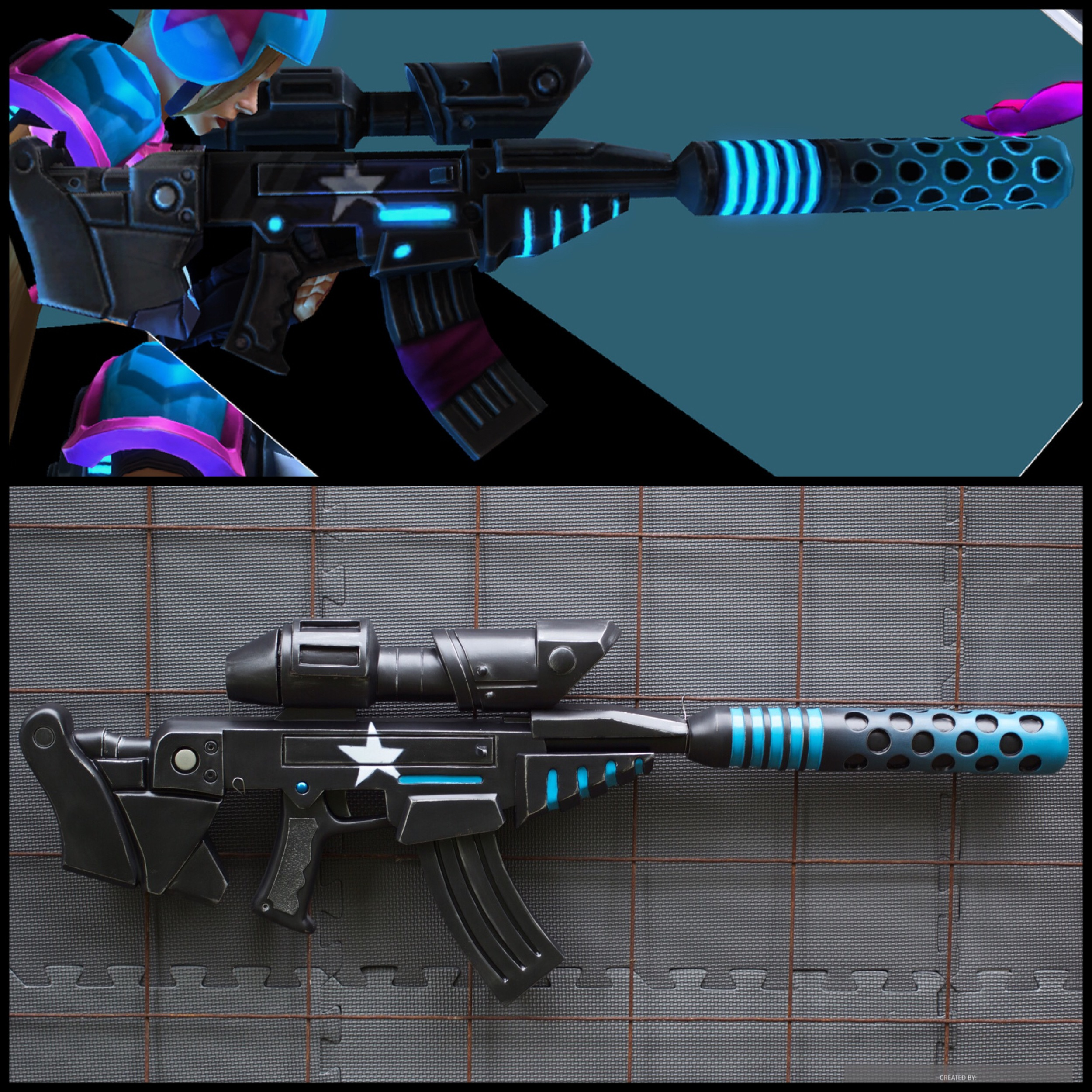 Top: The rifle as seen in game. Bottom: Hand-crafted replica.