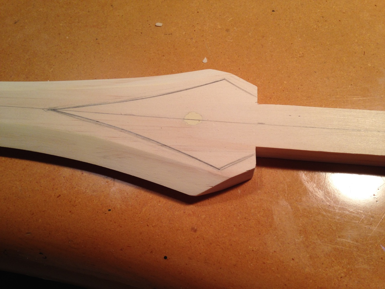 Outline of recess for inset blade details.