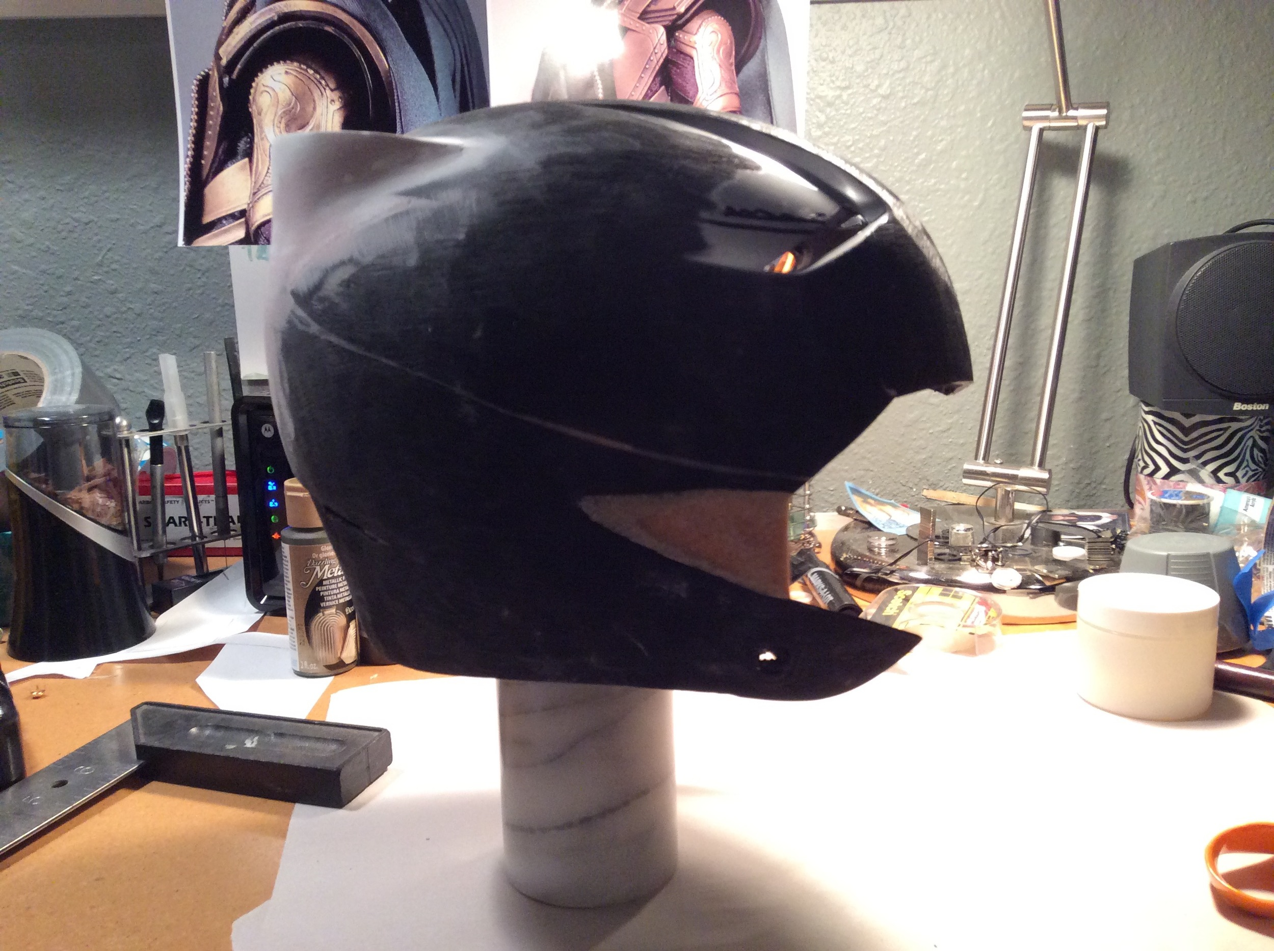 Cut down batting helmet. The line across the middle is where I chopped it to drop the forehead profile down.