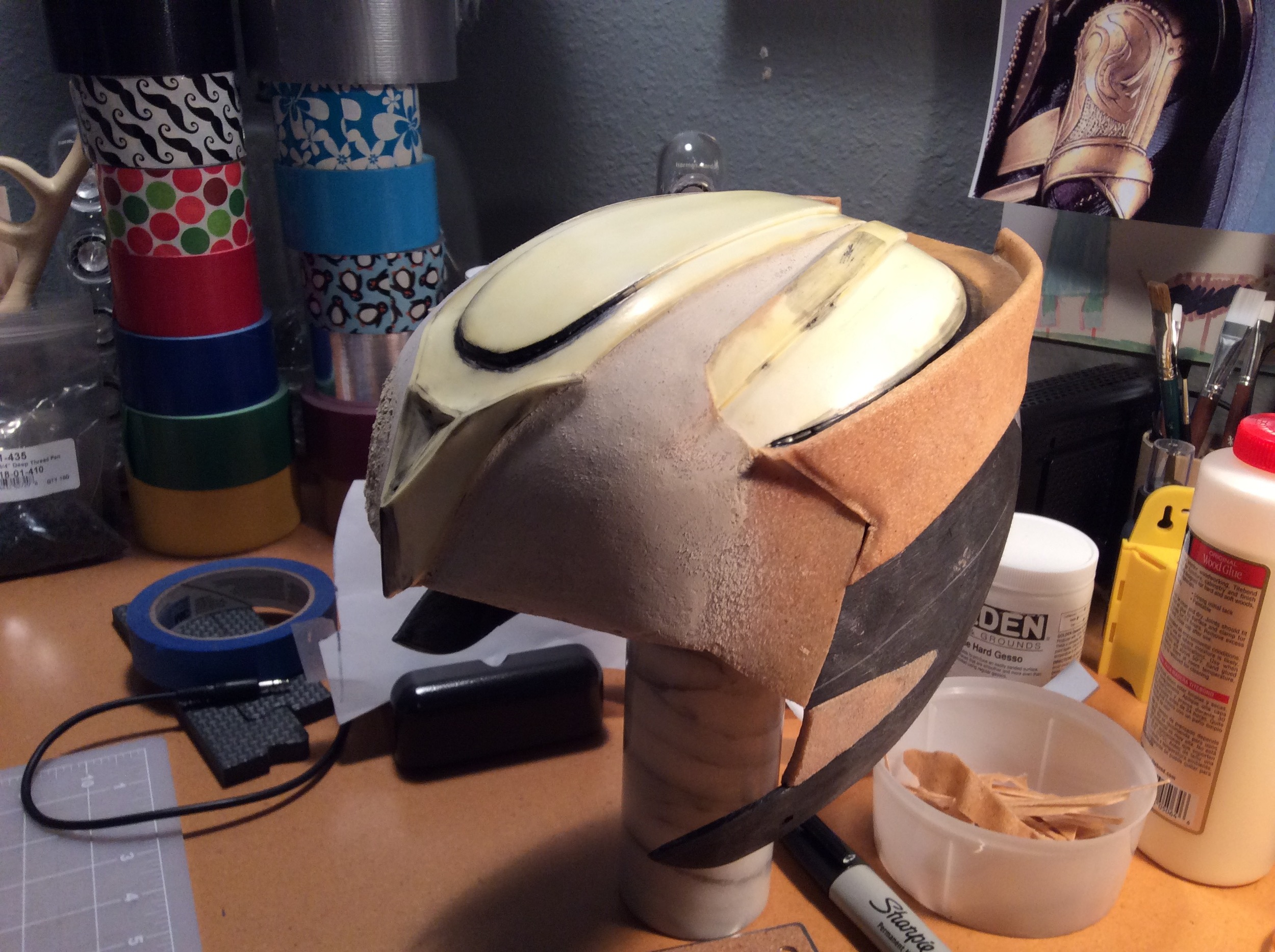 Decided not to cover the craft foam with worbla and instead coated it with wood glue to smooth out and reinforce.