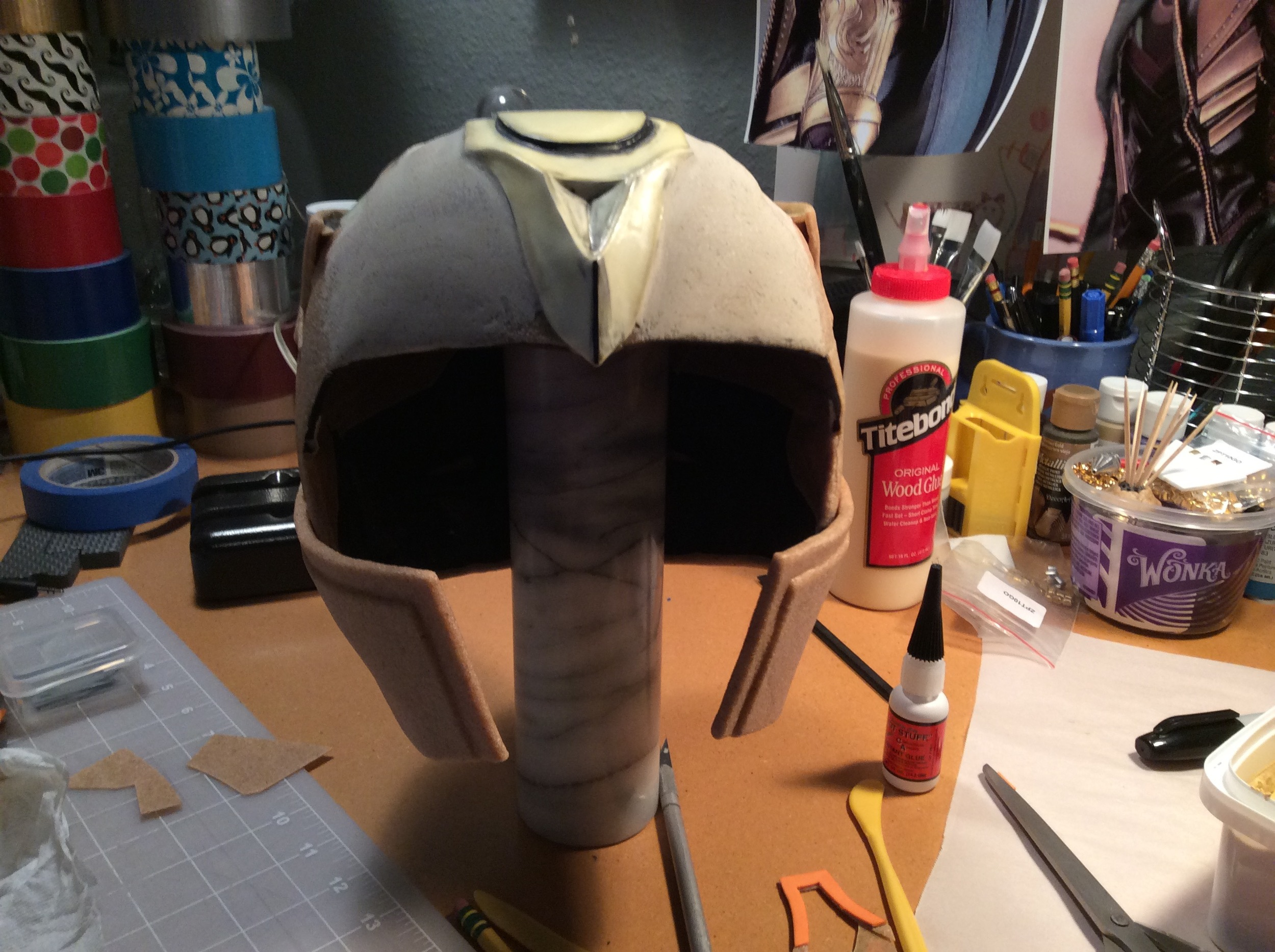 Both chin guards attached and shaped into place.