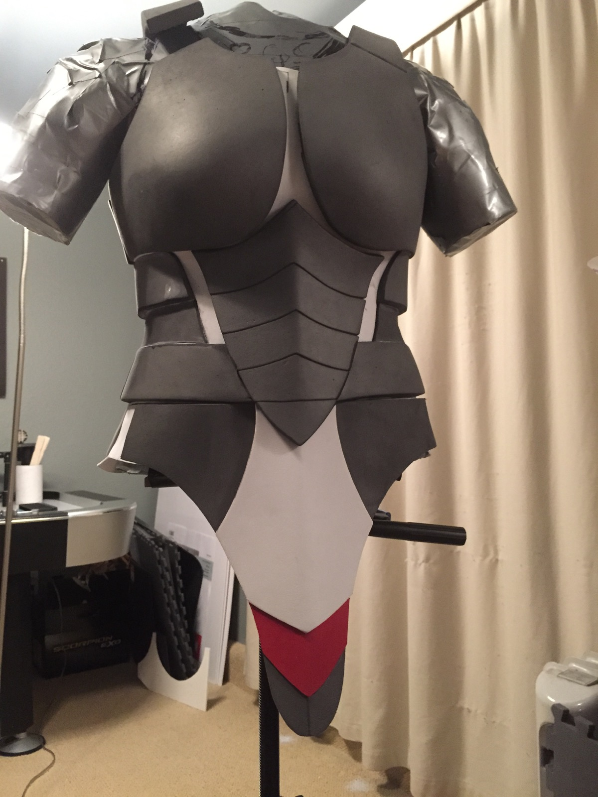 Test fitting the codpiece to the main armor.