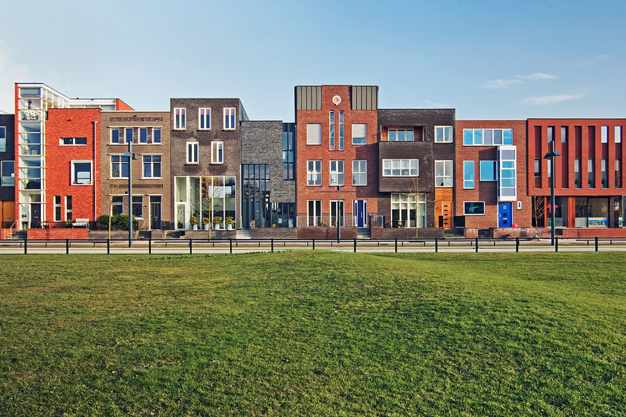 Modern houses in the recently rebuilt Roombeek neighborhood of Enschede