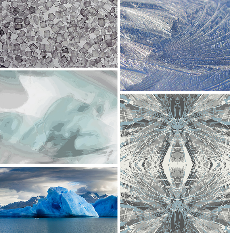 Top left:  sugar crystals   Bottom left: glacier Top right: frost  Centre left: Art Day concept 1001 by CMI designer Clémence Hardelay   Bottom right: Art Day concept 2189 by CMI designer Ashley Solymar