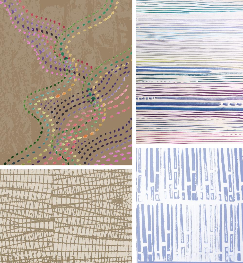 Top left: Art Day Concept 1046 by CMI designer Tiffany Wu Bottom left: Art Day Concept 2065 by CMI designer Tiffany Wu   Top right: Carpet design byCMI designerAli McMurter   Bottom right: Block print from CMI Art Day workshop