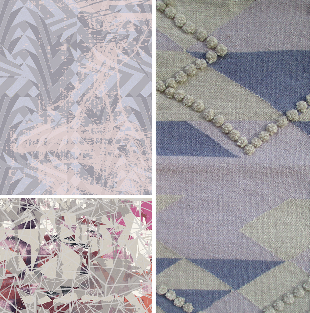 Top left: Art Day Concept 887 by CMI designer Ange Yake   Bottom left: Art Day Concept 911 by CMI designer Tiffany Wu Right: Dhurrie, cotton and worsted wool + silk cut pile, Creative Matters & Chapi Chapo Design.