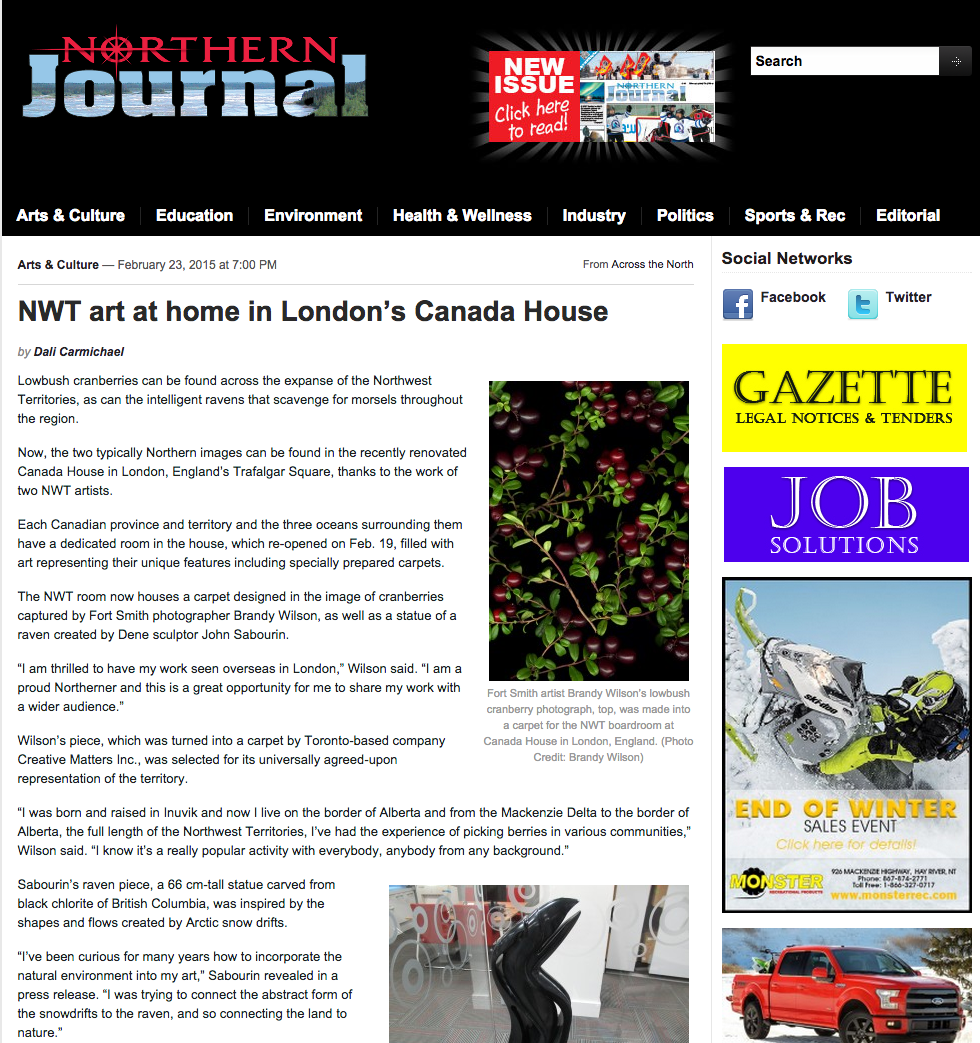 "THE NORTHERN JOURNAL  February 2015, ""NWT Art at Home in London's Canada House"", Written by Dali Carmichael."