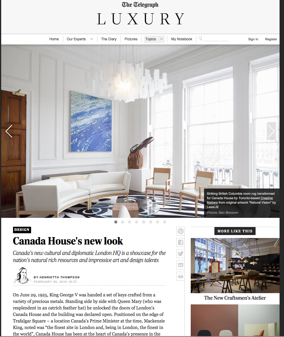 "THE TELEGRAPH UK  February 2015, ""Canada House's New Look"", Written by Henrietta Thompson."