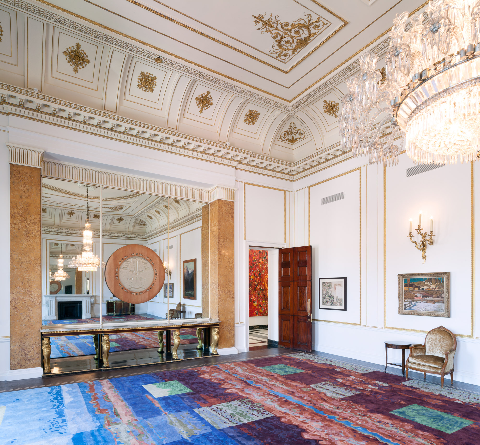 """The MacDonald Room rug features the largestrug (38 feet by 26 feet) inCanada House. It was inspired by """"Foothill,""""one of four of Sean William Randall's works we transformed into carpet designs. Photo: ©Ben Blossom"""