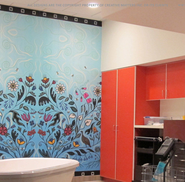 For the Toronto Birth Centre, LGA Architectural Partners provided us with four pieces of original artwork by Christi Belcourt. We then reworked the art to create a wallcovering design that fit the dimensions of each wall.Digitally printed in the U.S. on type II vinyl.