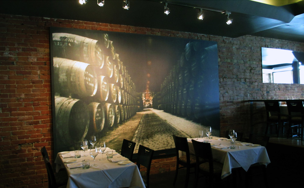 Eric McClelland at Fleur de Lis Interior Design used three of his own photographs to create ambiance for a restaurant client.They enlarged beautifully, with this one almost creating a trompe l'oeil effect. Printed on matte type II vinyl.