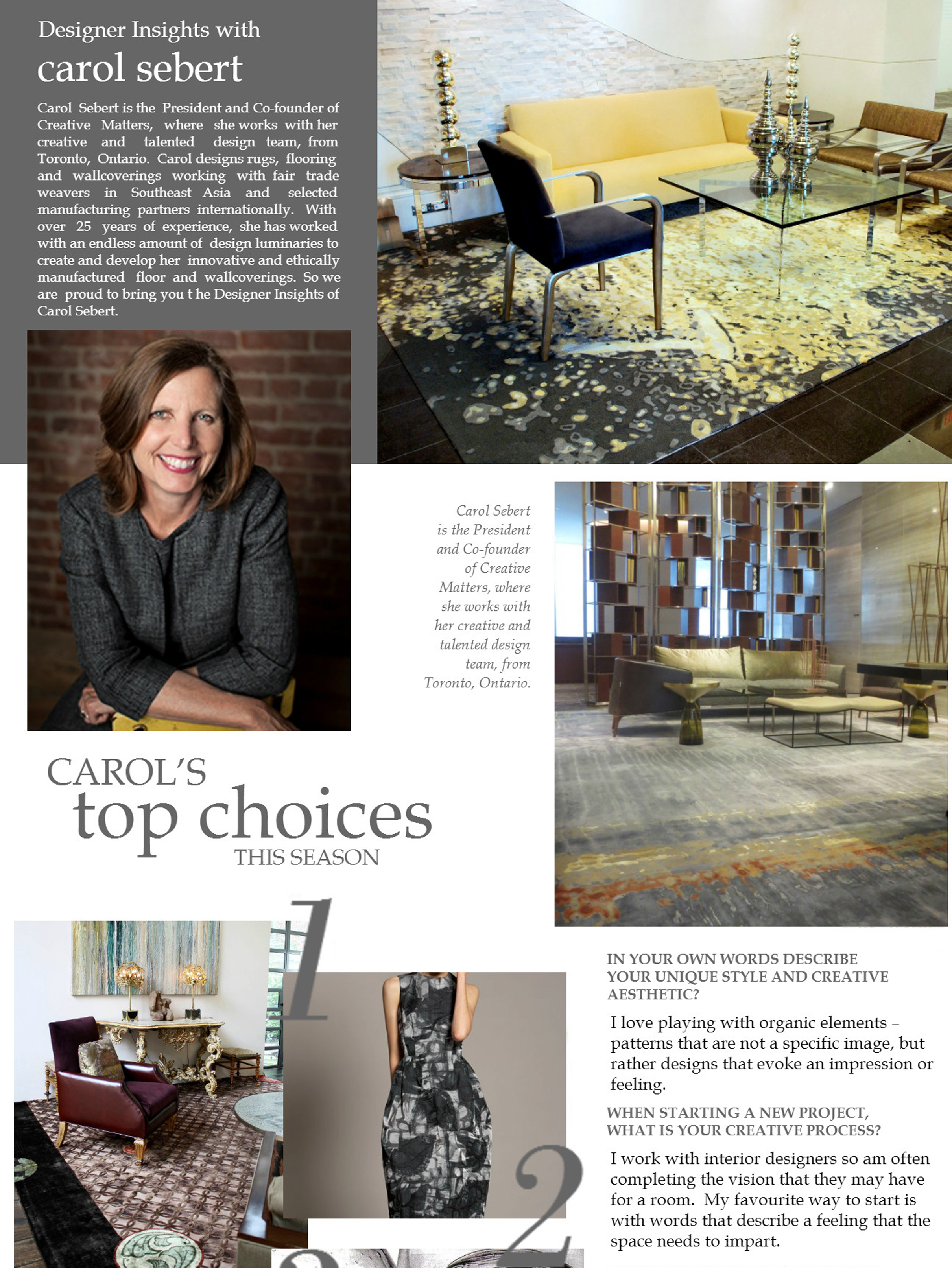 "TERRYS FABRIC'S BLOG  September 7, 2015, ""Designer Insights with Carol Sebert: Carol's Top Choices.""  Source:  Terrys Fabric's Blog"