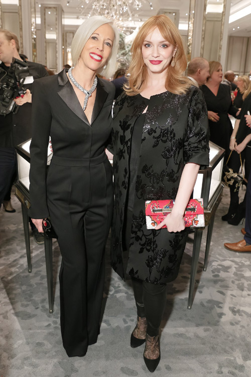 Linda Fargo of Bergdorf Goodman with actor Christina Hendricks at the opening of the Jewelry Salons in December 2015. Photo: ©BFA