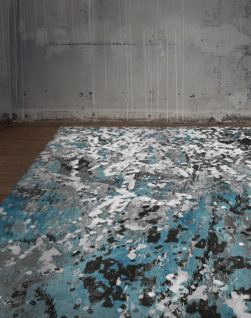 The first Drift design was handknotted in the Aqua colourway