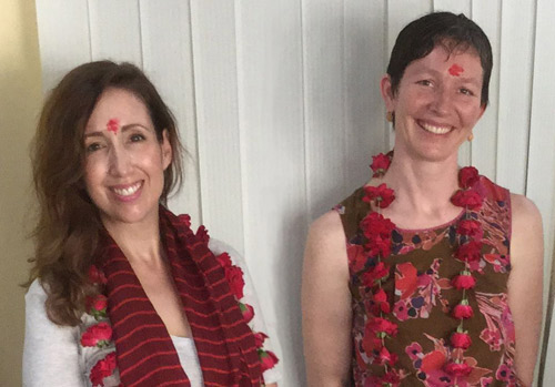 """Ana (left) and Ali were warmly welcomed by our """"Indian office""""."""