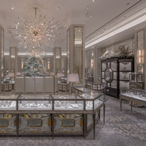 At the uber luxe Bergdorf Goodman Jewelry Salons, the 13 grey blends in the carpet match surrounding stonework, paint colour and store fixtures.Precisely assembled with careful silk placement, they create a luxe, shimmering and enduring foundation to balance the opulence of the space.   Project: Bergdorf Goodman Jewelry Salons.Interior Design: Linda Fargo and Doug Gellenbeck. Photo: Thaddeus Rombauer