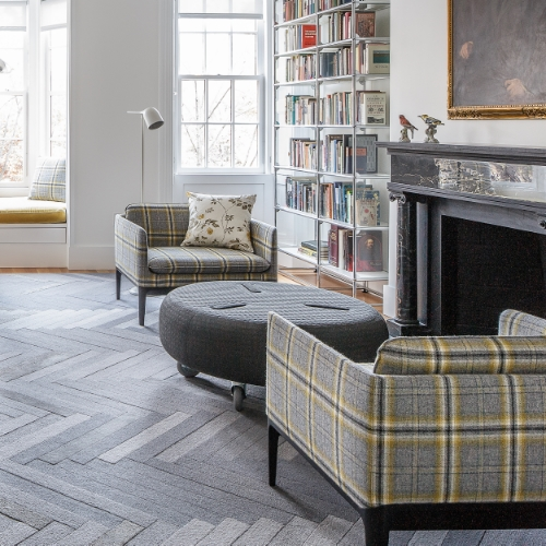 Saved to over 500 Ideabooks on Houzz, this wool and silk handtufted herringbone design is a perfect example of what can be achieved with a limited colour palette. Keeping it grey, we played with pile heights, yarns with natural variations and silk highlights to create movement and texture.   Project: Boston townhouse. Interior Design: Hacin + Associates. Photo: Michael Stavardis