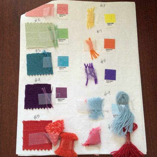 The fabric samples and pantone swatches provided by Faena along with our yarn matches.