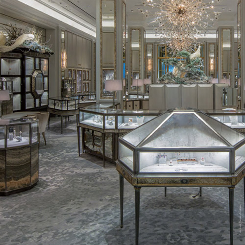 Creative Matters' largest handmade carpet was for the Jewelry Salons at Bergdorf Goodman. The carpet was carefully cut into three pieces for shipping and expertly reassembled and joined on site under the supervision of the Creative Matters designer.  Read more.