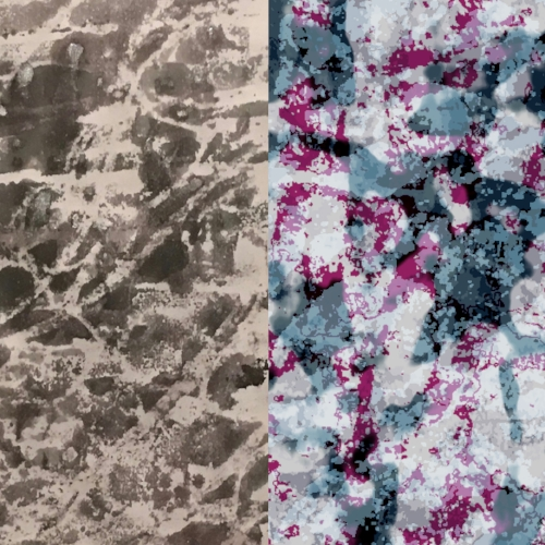 The design on the left was created by Yabu Pushelberg's Nicole Solari. If Nicole decides the design might work in colourful hues for her client, we will translate it into a rug design similar to the one on the right.