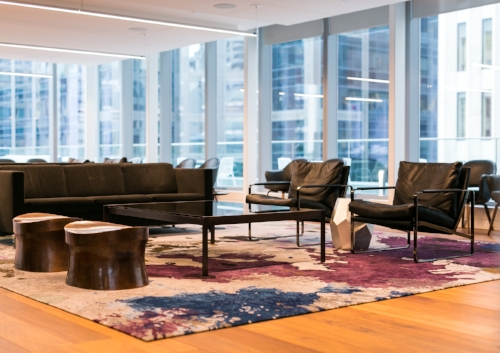 The Creative Matters rug with a splash-like design in a lounge/meeting area. Photo: Kayla Rocca