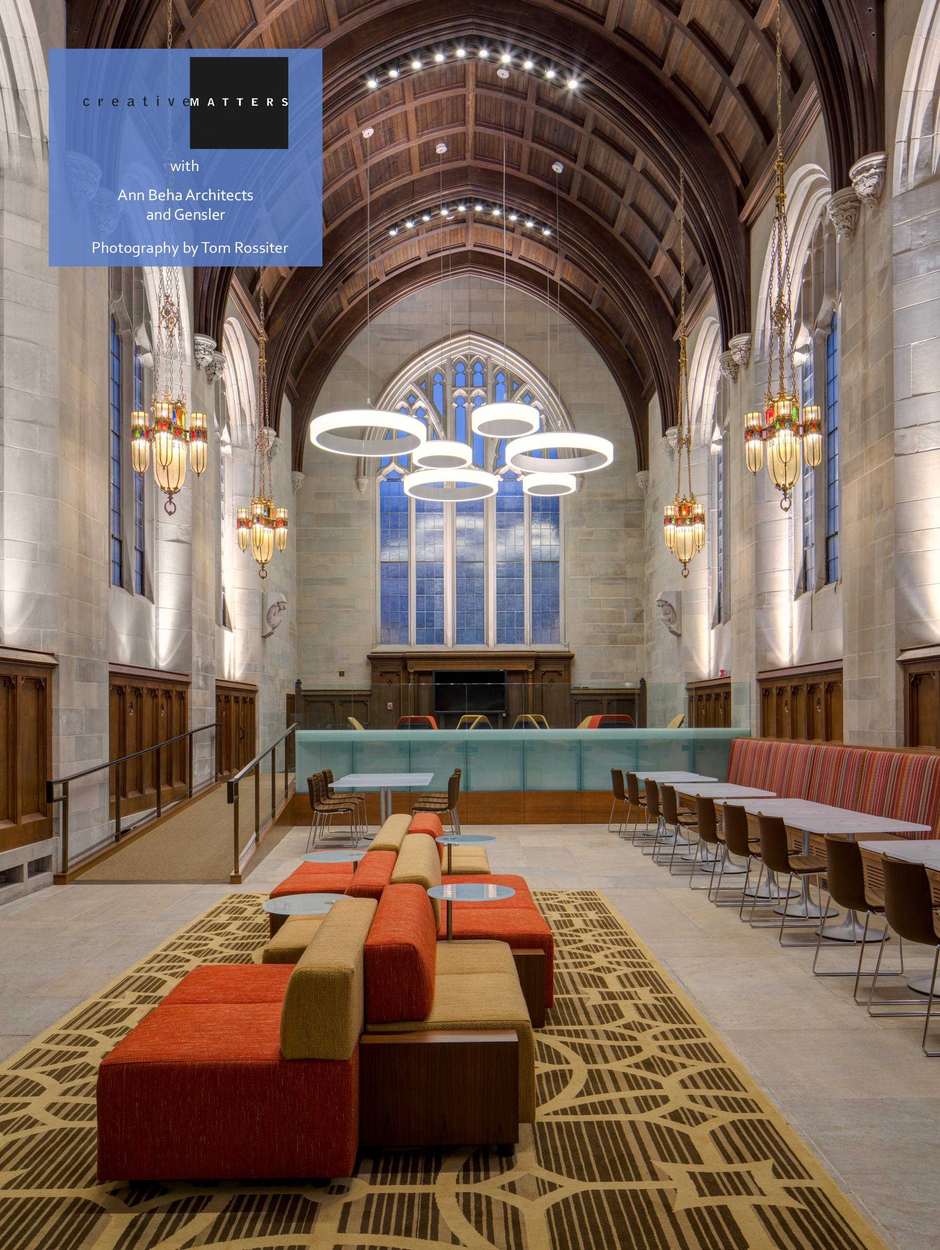 In a conversion from a seminary, we were asked to provide three rugs for the reimagined interior of the department of economics at the University of Chicago. Pictured here is our rug for what is now the Graduate Commons, a soaring space with a flexible floor plan. The rug pattern relates to the carved wood details of the soaring ceiling, the curves of the arched windows, and the circular suspended lighting.The design fits perfectly with the historic elements that remain, while the large scale and geometry of the pattern offer a modern feel.  Project: Three rugs for the University of Chicago Saieh Hall for Economics Interior Designer:Ann Beha Architects (Boston) with Gensler (Chicago) Rug:80% wool, 20% nylon, Axminster,made in Thailand CMI Designer: Leah Phillips