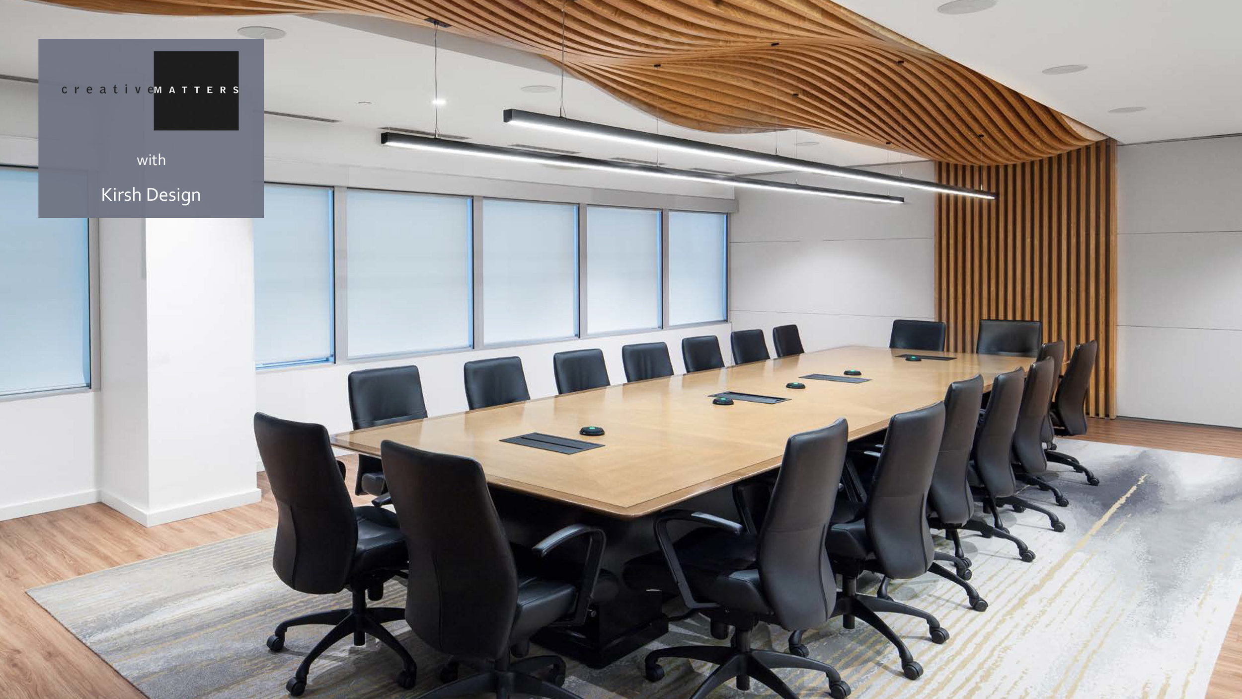 When Equitable Bank was looking for a rug for their Toronto boardroom, they browsed our XXV Collection and spied the potential of the Orchestra design. Attracted to the beauty of the gold and silver, this concept best complemented the excitement of the room's undulating ceiling. We created a custom eight-colour interpretation, and recommended handtufted wool with loop pile to withstand the physical stresses of a boardroom. The finished result is the perfect accompaniment to the space, elegant, harmonious and sophisticated.    Project: Boardroom of Equitable Bank, Toronto Interior Designer: Kirsh Design Rug: 100% wool, handtufted in Thailand