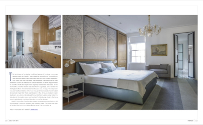 "INTERIORS MAGAZINE   December/January 2015, ""Modern Brahmin,"" Text by Jorge S. Arango, Designed by Hacin & Associates, Photography by Michael Stavaridis. pp. 122-123."