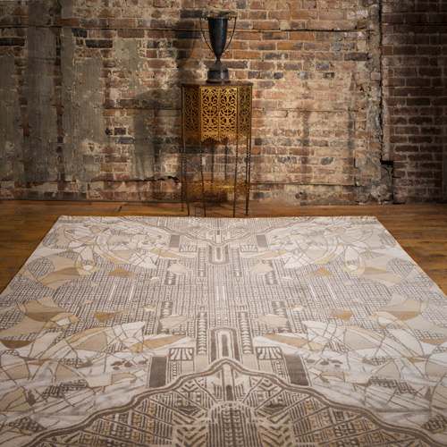 Ana says that the Creative Matters Metropolis rug (from the XXV Collection) is the most complex design she has ever created because of all the line work, shading and fine detail.