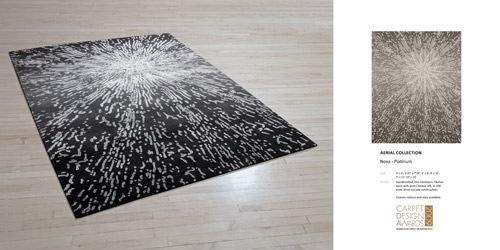 Ana's Nova Design (for the Creative Matters Aerial Collection) was a finalist for Best Modern Rug Design at the Domotex floorcoverings expo in 2009. Although almost 10 years old, of Ana's many designs, it is still often requested.