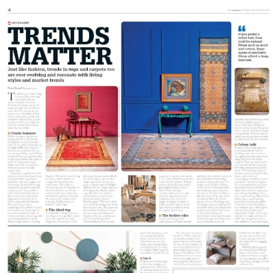 "THE TIMES OF INDIA  August, 2017, ""Trends Matter"", by Neha Bahti, p 4."