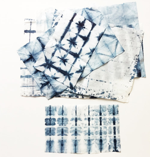 The Creative Matters designers produced a variety of designs on paper from their shibori workshop.