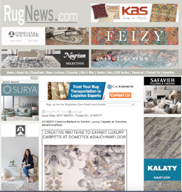 "RUG NEWS  March 3rd, 2017, ""Creative Matters to Exhibit at Domotex Asia/ChinaFloor""."