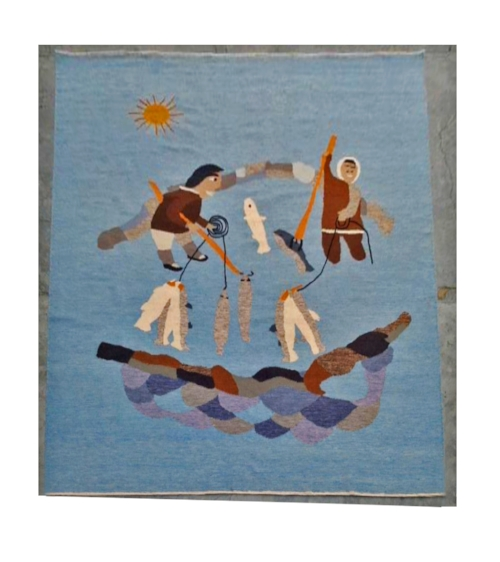 Hand woven dhurrie wall hanging, 100% wool, interpreted by Anna Panosyan based on a original tapestry.