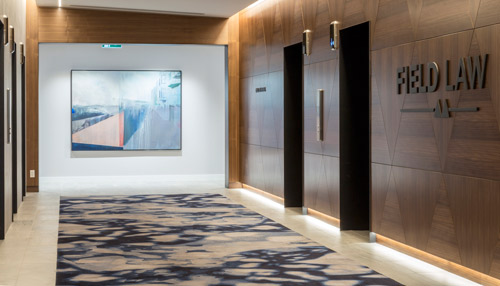 Fragment - Blue from Creative Matters'Arctic Collection was customized for an elevator lobby at Field Law.