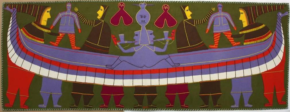 Original artwork by Jessie Oonark. Canadian (Baker Lake), 1906–1985. Untitled, c.1972–1973. Wool felt on wool duffle. Government of Nunavut Fine Art Collection. On long-term loan to the Winnipeg Art Gallery, 2.76.1
