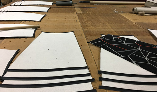Our installer cut paper templates for each step/riser combination to guide them in cutting the carpet.