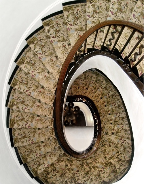 From the Creative Matters archives, an amazing spiral staircase we carpeted with Studio Sofield using the Aubusson method of production.