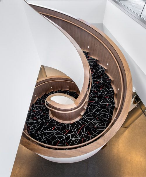 The Creative Matters spiral staircase carpet recently installed at 10 York in Toronto. Photo: Simon Tanenbaum