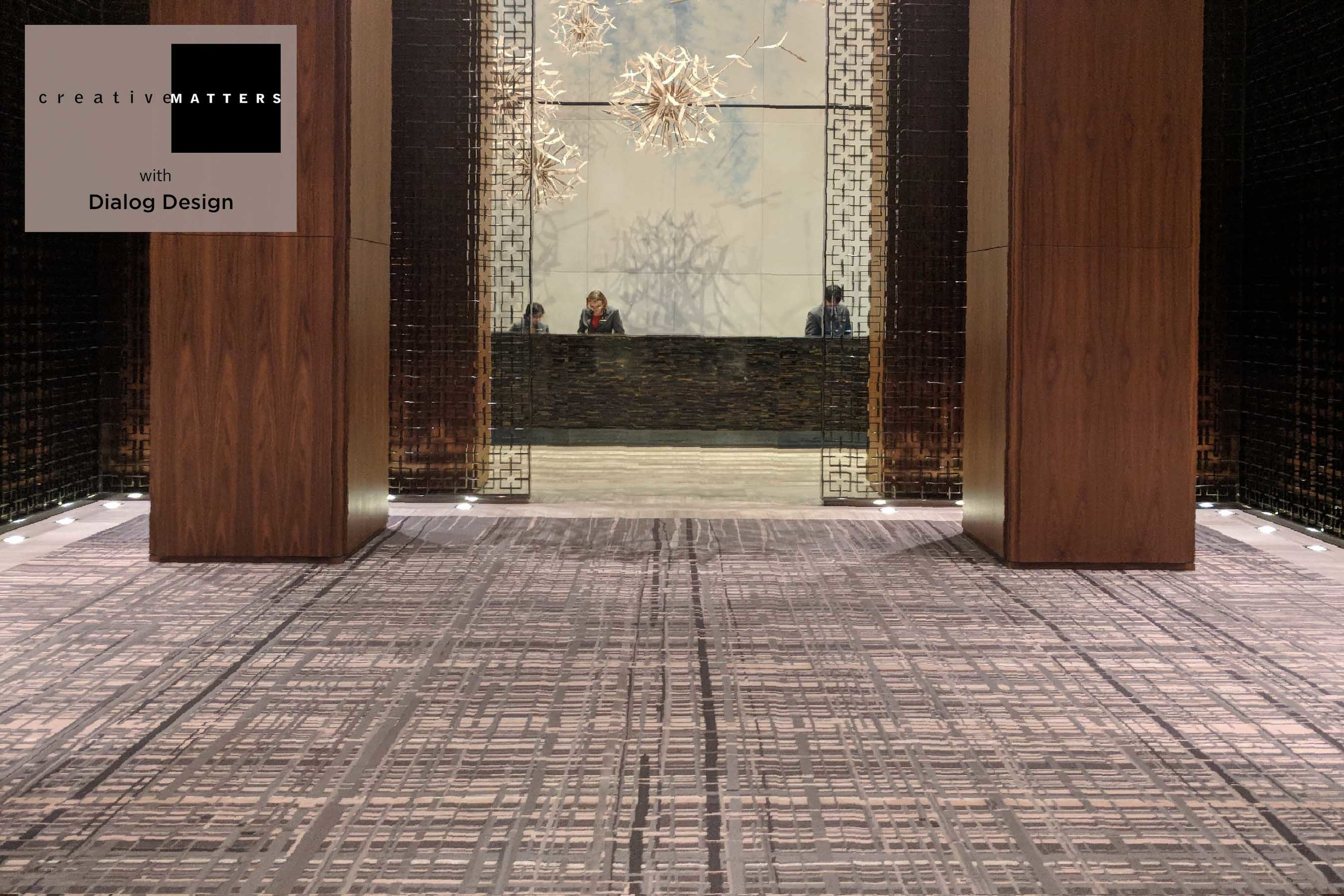 Inevitably the primary role of a hotel lobby rug is to lead the guest's eye to the enticements beyond. For the different sections of the palatial entrance at Toronto's Four Seasons, we created six variations on a theme also designed to gratify those who stop and enjoy. Wool and the handtufted method call out to gracefully bear a thousand comings and goings. For this piece however, a delightful crosshatch woven look was achieved using multiple textures - varying pile heights along with loop and cut pile - for added depth and intrigue.  Project: lobby rug for the Four Seasons Hotel, Toronto Rug: wool and silk, handtufted in Thailand Interior Designer: Dialog Design Creative Matters Designer: Kat Pezzano