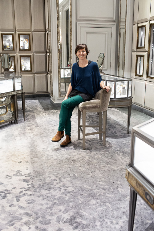 Ali shows the group Creative Matters' biggest ever carpet for the Jewelry Salons at Bergdorf Goodman. Ali managed this project in 2015.