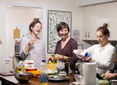 Ali preparing dinner with Sandra (left) and Clémence. Sandra is particularly known for her work with the Anndore House and Clémence for her designs for the Royal Caribbean Cruise Line.
