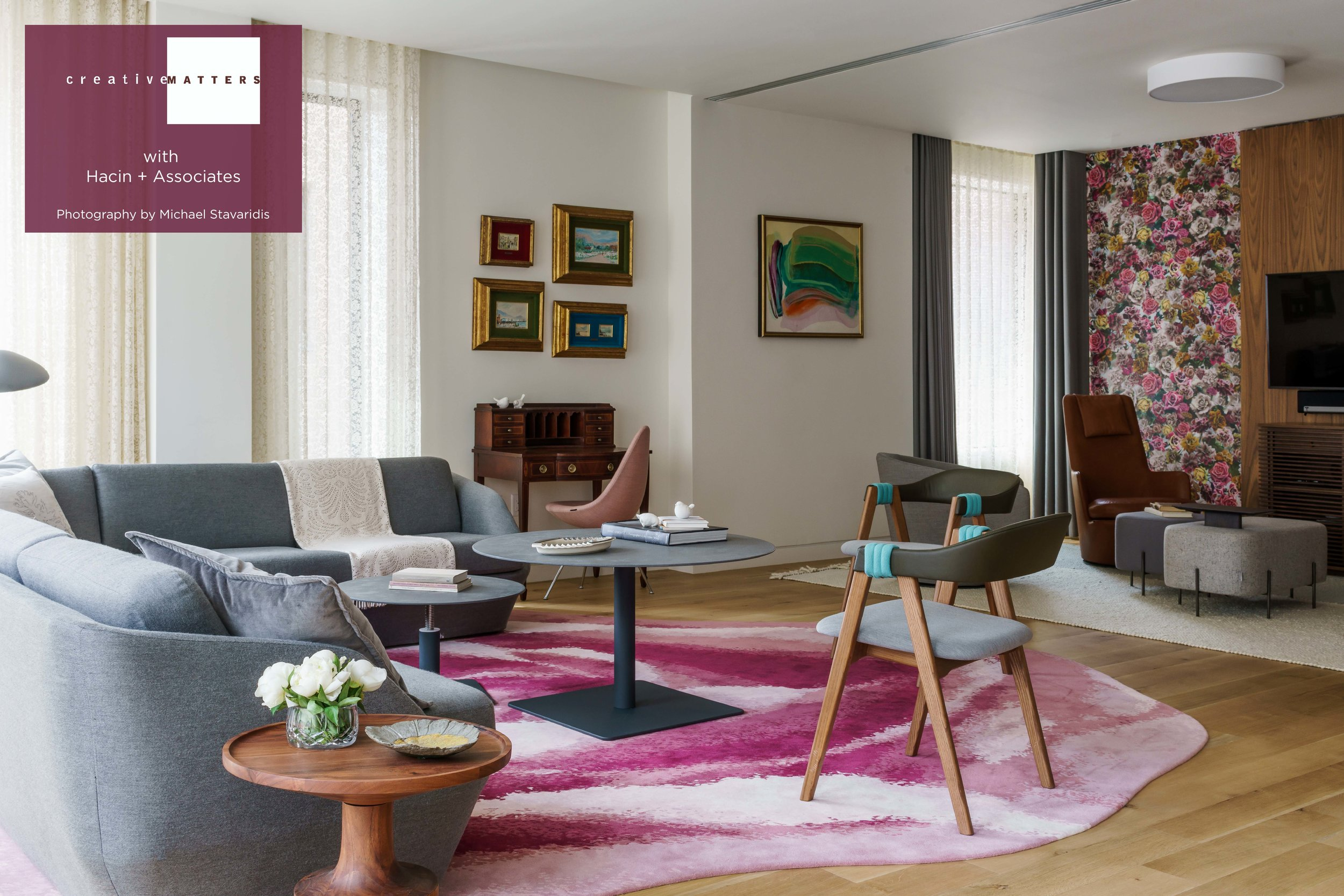 It is always a delight when an interior designer encourages us to create a dynamic and unusual floorcovering. For this Boston project that freedom resulted in a remarkable shaped rug in a rose motif. It's irregular borders offer both custom-made positions for the furniture and provide compelling detail for the space. Its 10 shades of pink transition through ballet slipper, coral and cerise to balance the more masculine cool-toned elements in the room. They also connect to the floral wallpaper in the lounge area, and set the colour for other accent pieces such as the pink drop chair and a berry-hue rug in the bedroom.  Project: shaped rug for Boston living room Rug: 100% wool handtufted in Thailand Interior Designer: Hacin + Associates Creative Matters Designer: Leah Phillips