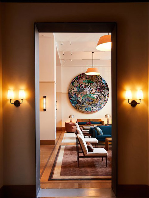 Complementary Creative Matters designs sit side-by-side in the Sanctuary at the Shinola Hotel.