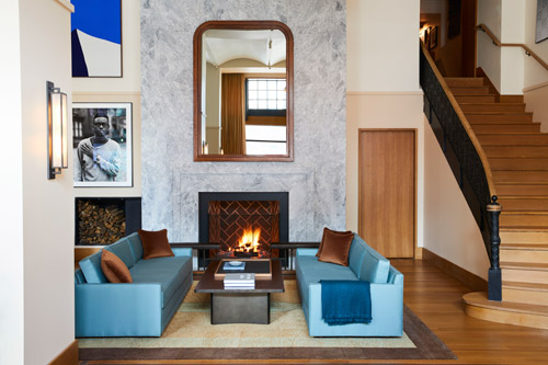 This Creative Matters 100% wool rug for the fireside living room was handknotted in Nepal. Photo: Nicole Franzen