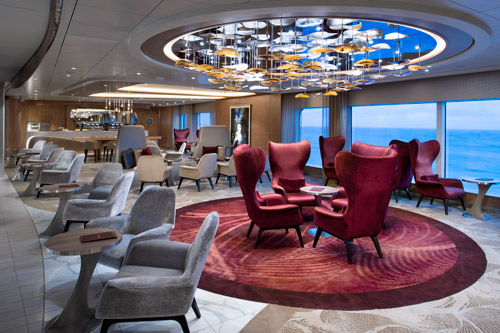 Two coordinating Creative Matters carpet designs for Cafe al Bacio on the Celebrity Edge cruise ship. Photo: Michel Verdure