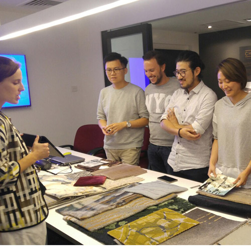 Clémence presenting to interiors professionals in Hong Kong.