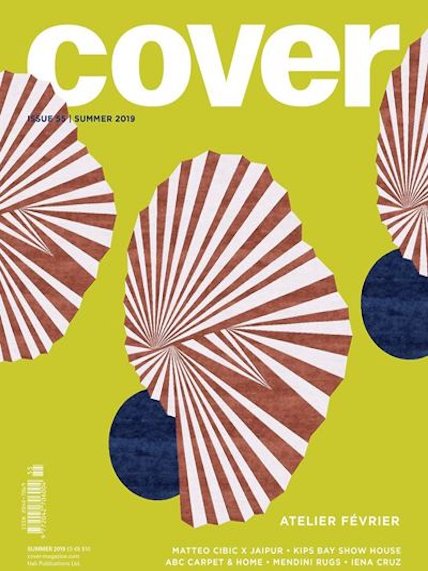 """COVER MAGAZINE & TEXTILES FOR MODERN INTERIORS  Summer, 2019, """"Rug upon rug"""", by Malin Lonnberg, pp. 100-101."""