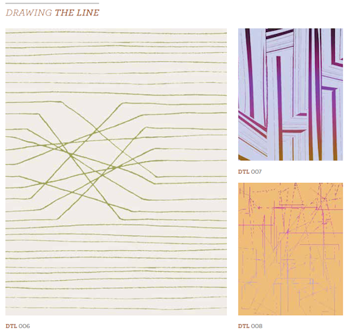 Fledgling designs from the Drawing The Line category that groups lineal motifs.