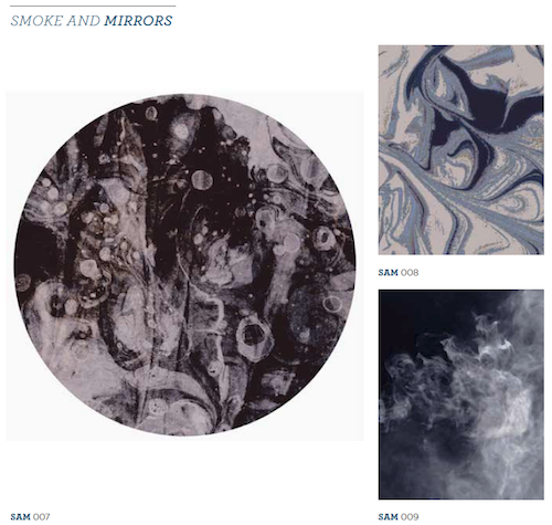 Patterns from the Smoke and Mirrors category - a compilation of images created at a marbling Art Day.